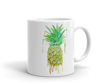 Pineapple Coffee Mug, Ceramic Mug, 11oz, Art by Kikajo