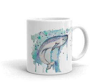 Narwhal Whale, White, Glossy, Ceramic ,Coffee Mug, 11oz, Personalized Mug, Art by Kikajo