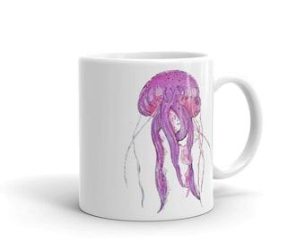 Jellyfish Coffee Mug, Ceramic Mug, 11oz, Art by Kikajo