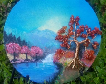 Spring Dawning, Acrylic Landscape,  Hand painted on wood, Handmade Copper Tree, and Carnelian Gemstone beaded leaves. Gift idea.