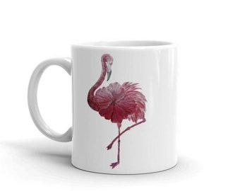 Flowered Flamingo, White, Glossy, Ceramic ,Coffee Mug, 11oz, Personalized Mug, Art by Kikajo