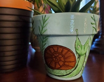 "Garden Snail, Handpainted, Terracotta Planter, Unique Gift, One Of A Kind, 4.25""x4.25"""