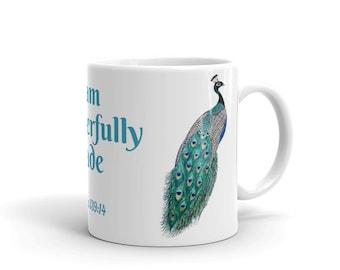 "Peacock Coffee Mug, Ceramic Mug, 11oz,""I am Wonderfully Made"", Art by Kikajo"