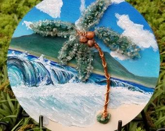 Summer Solace,  Acrylic Landscape,  Hand painted on wood, Handmade Metal Tree, Aquamarine/Adventurine Leaves. Art Gift Idea.