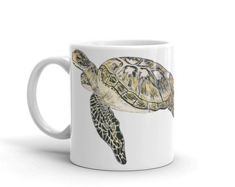 Sea Turtle Coffee Mug, Ceramic Mug, 11oz, Art by Kikajo