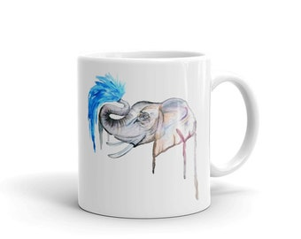 Elephant Coffee Mug, Ceramic Mug, 11oz, Art by Kikajo