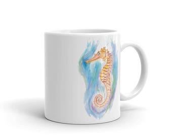 "Seahorse Coffee Mug, Ceramic Mug, 11oz,""Under the Seahorse"" Art by Kikajo"