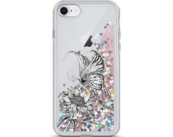 Butterfly and Sunflower Liquid Glitter Phone Case