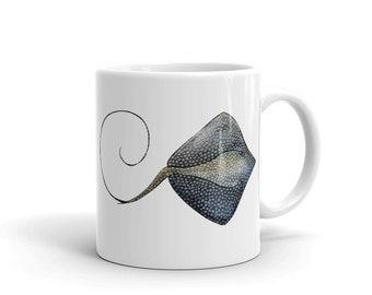 Stingray, White, Glossy, Ceramic ,Coffee Mug, 11oz, Personalized Mug, Art by Kikajo
