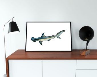 Hammerhead Shark,Printable Art, Instant Digital Download Art, Modern art prints, Art, Prints, Printable Artwork, Art by Kikajo