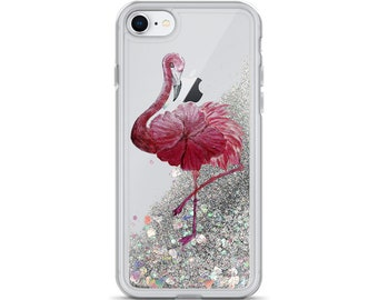 Flowered Flamingo Liquid Glitter Phone Case