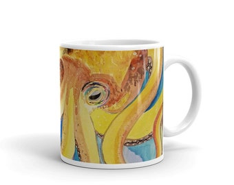 "Octopus Coffee Mug, Ceramic Mug, 11oz, ""Octopus on Anchor"",Art by Kikajo"