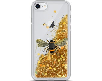 Bumble Bee Drip Liquid Glitter Phone Case