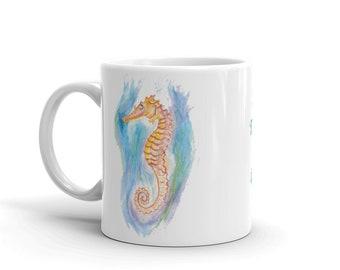 "Seahorse Coffee Mug, Ceramic Mug, 11oz, ""Under the Seahorse"",Art by Kikajo"