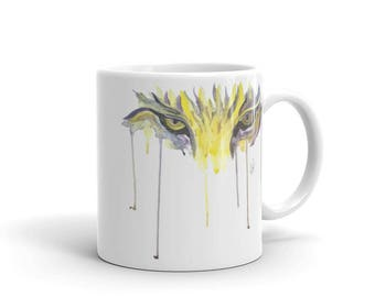 Tiger Eyes, Drip Effect, White, Glossy, Ceramic ,Coffee Mug, 11oz, Personalized Mug, Art by Kikajo