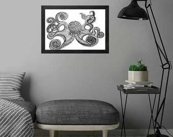 Inky Octopus, Octopus,Printable Art, Instant Digital Download Art, Modern art prints, Art, Prints, Printable Artwork, Art by Kikajo