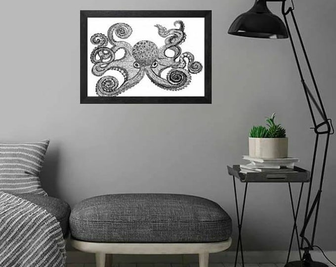 Featured listing image: Inky Octopus, Octopus,Printable Art, Instant Digital Download Art, Modern art prints, Art, Prints, Printable Artwork, Art by Kikajo