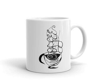 Calligraphy Coffee Mug, Ceramic Mug, 11oz, Art by Kikajo