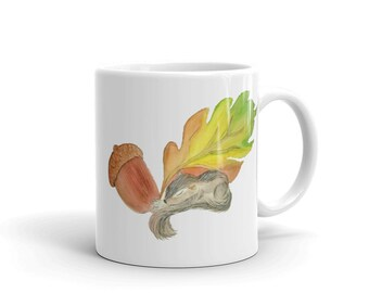 Squirrel Coffee Mug,Ceramic Mug, 11oz,Autumn Colors, Art by Kikajo