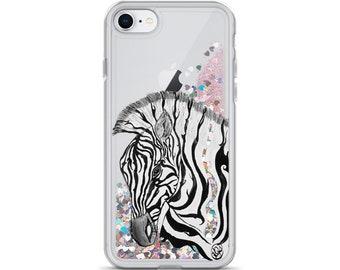 Zebra Liquid Glitter Phone Case