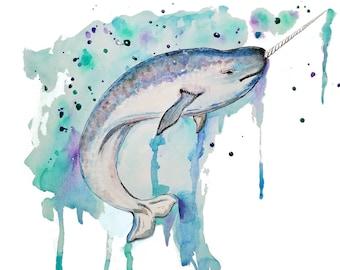 Narwhal, Whale, Printable Art, Instant Digital Download Art, Modern art prints, Art, Prints, Printable Artwork, Art by Kikajo