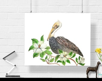 Sweet Bay,Pelican and Magnolia,Printable Art, Instant Digital Download Art, Modern art prints, Art, Prints, Printable Artwork, Art by Kikajo
