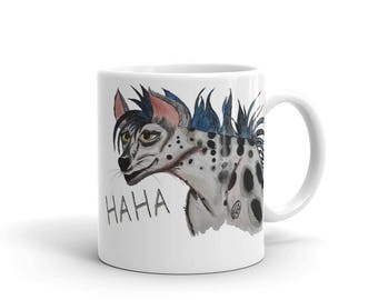 Hyena Coffee Mug, Ceramic Mug, 11oz, Art by Kikajo