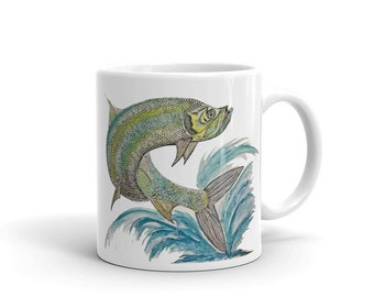 Fish, White, Glossy, Ceramic ,Coffee Mug, 11oz, Personalized Mug, Art by Kikajo