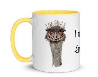 Emu, Funny Mug, White, Glossy, Ceramic ,Coffee Mug, 11oz, Personalized Mug, Art by Kikajo