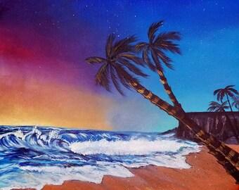 Colors of Dusk Fine Art Landscape Acrylic Original Painting 16x20 Art by Kikajo