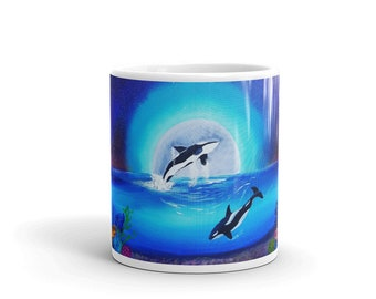 "Orca Coffee Mug, Killer Whales, Sea Creature, Big Fish, Ceramic Mug, 11oz, ""Moonlight Dance"", Art by Kikajo"