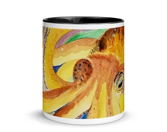 "Octopus Coffee Mug with Color Inside, ""Octopus on Anchor"", Art by Kikajo"