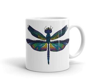 Dragonfly Coffee Mug, 11 oz, Ceramic, Coffee Mug, Art by Kikajo