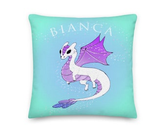 White Dragon, Personalized Name Pillow, Little Girls Room, Childs Room, Art Decor, Bedroom, Premium Pillow, Accent Pillow, Art by Kikajo,