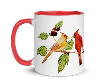 Cardinal Birds mug with Color Inside