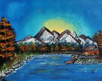Cabin by the Lake, Original Artwork, 11x14, Acrylic on Canvas Panel