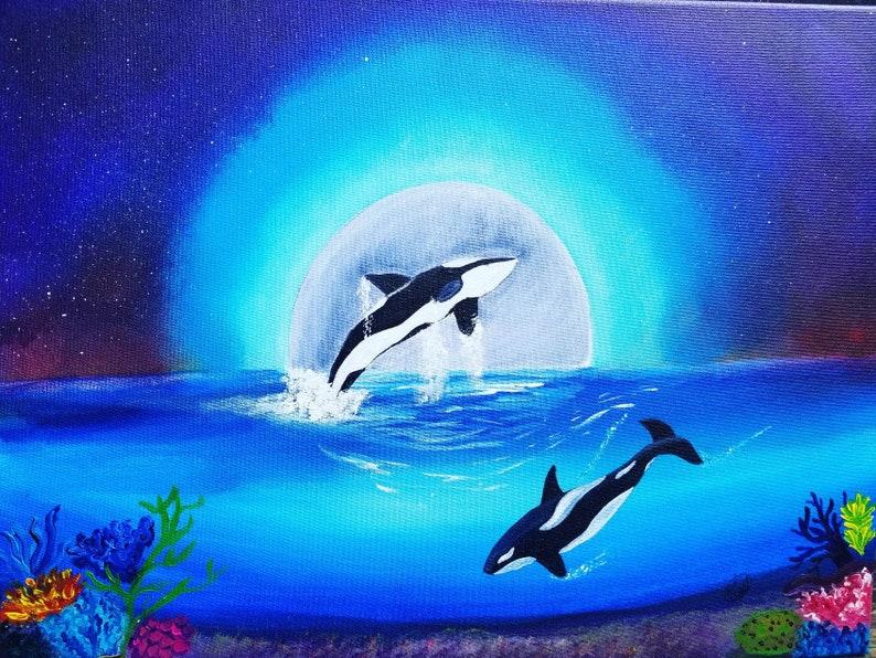 Moonlight Dance Fine Art Landscape Acrylic Original Painting image 0