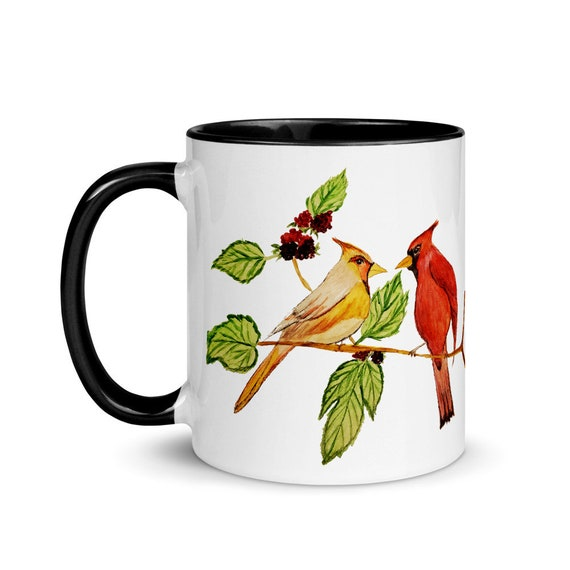 Cardinal Birds mug with Color Inside