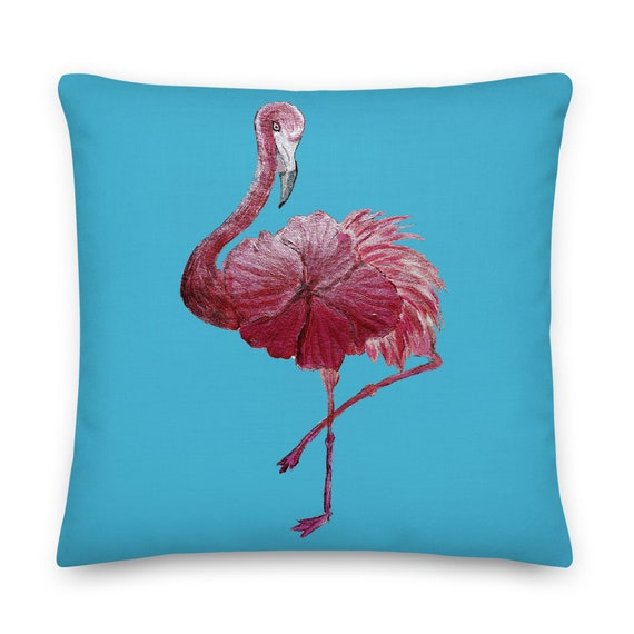 Flowered Flamingo Premium Pillow