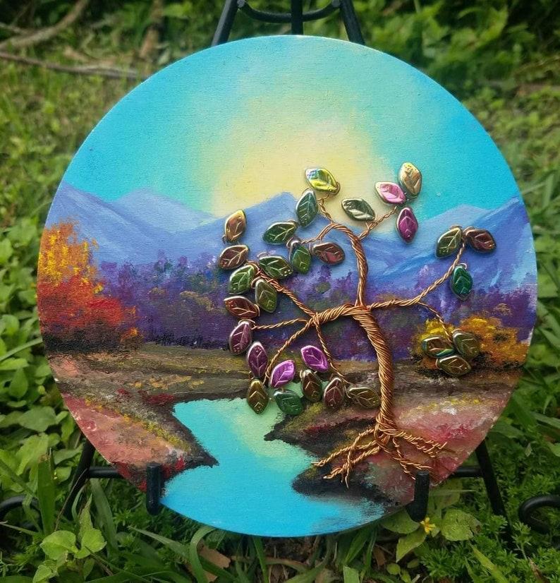 Autumn Twilight Mixed Media Acrylic Landscape Painting on Wood image 0