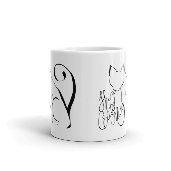 Cat Coffee Mug, Ceramic Mug,Feline, Crazy Cat Lady, 11oz, Art by Kikajo