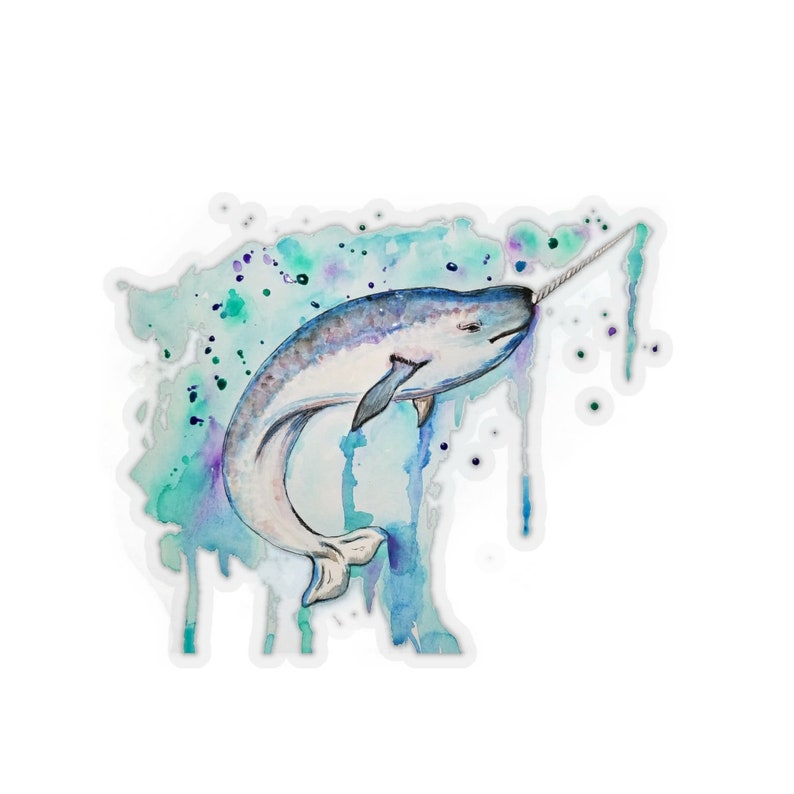 Narwhal Whale Drip Kiss-Cut Stickers image 0