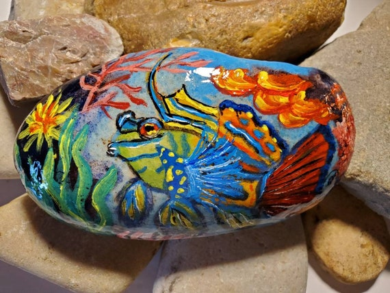 Mandarin Fish Hand Painted Rock Art
