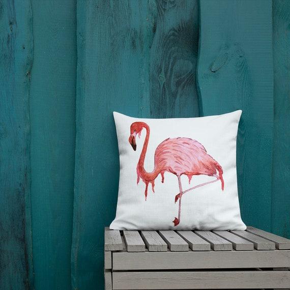 """Flamingo Pillow, Throw Pillow, Pink, Pillow Cushion, Home  Decor,  Beach House,  """"Awkwardly Fabulous"""", Art by Kikajo"""