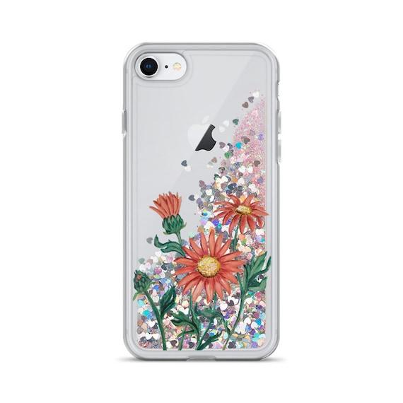 Pink Daisies Liquid Glitter Phone Case