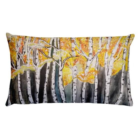 Aspen Trees Pillow, Throw Pillow, Birch,  Rectangular, Throw Pillow, Art by Kikajo