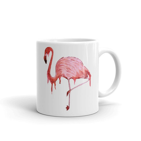 "Flamingo Coffee Mug,11 oz, Ceramic, Coffee Mug, ""Awkwardly Fabulous"", Art by Kikajo"