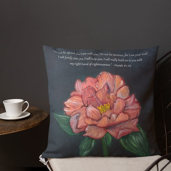 Coral Peony with Isaiah 41:10 Scripture