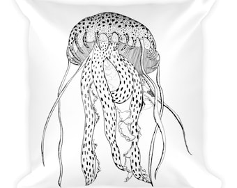 Flowing Jellyfish B/W Square Pillow