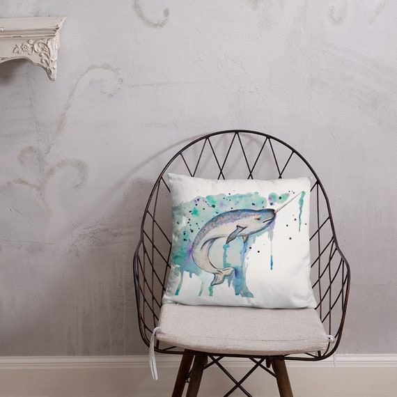 """Narwhal Pillow, Throw Pillow, """"The Real Unicorn"""", Narwhal Whale, Pillow Cushion, Art by Kikajo"""